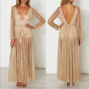 Dresses - Gold sheer metallic festival dress boho bohemian
